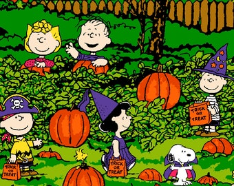 peanuts halloween fabric spooky night 42w 100 cotton fabric by the yard snoopy charlie brown linus lucy great pumpkin sewing