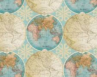 Globe fabric etsy vintage globes of the world fabric by davids textiles by the half yard 44 wide 100cotton novelty fabric map fabric globe fabric gumiabroncs Gallery
