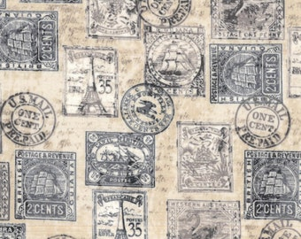 Antique Postage Stamps Novelty Cotton Fabric 44 By Traditions 100 Mixed Media