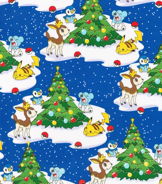 Pokemon Christmas.Pokemon Christmas Fabric Pokemon Scene With Christmas Tree By Robert Kaufman 100 Cotton 44 W Pikachu Fabric Licensed Fabric