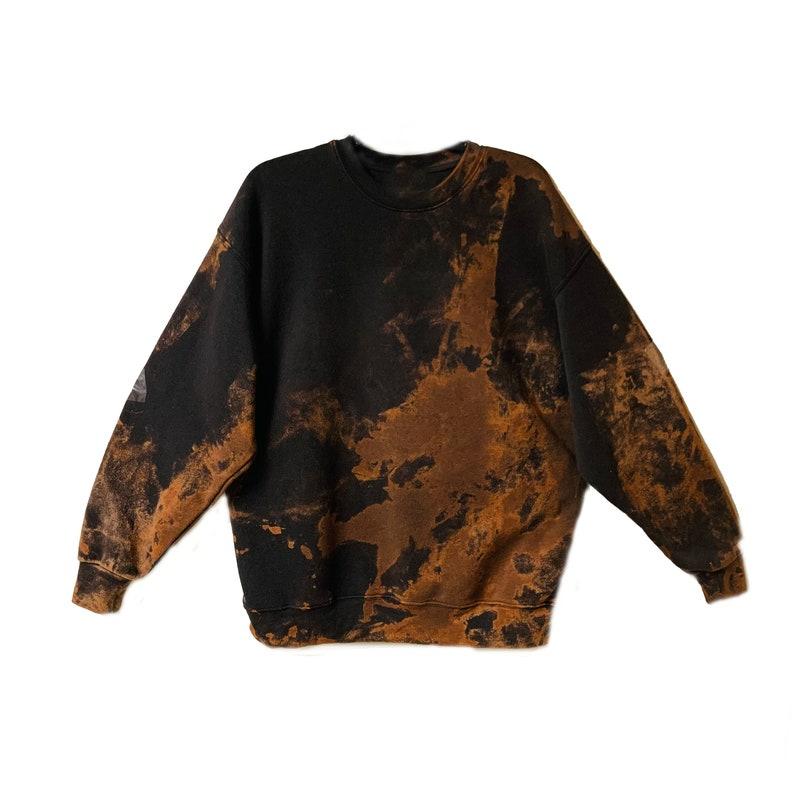 Reverse Bleached Tie Dye Gold Rock N Roll Mouth Pullover Sweatshirt Jumper