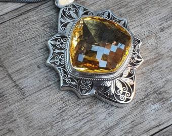 Citrine Stone /& Black tourmaline  925 sterling silver plated handmad pendant ooak pendant citrine stone boho pendant jewellery pandent