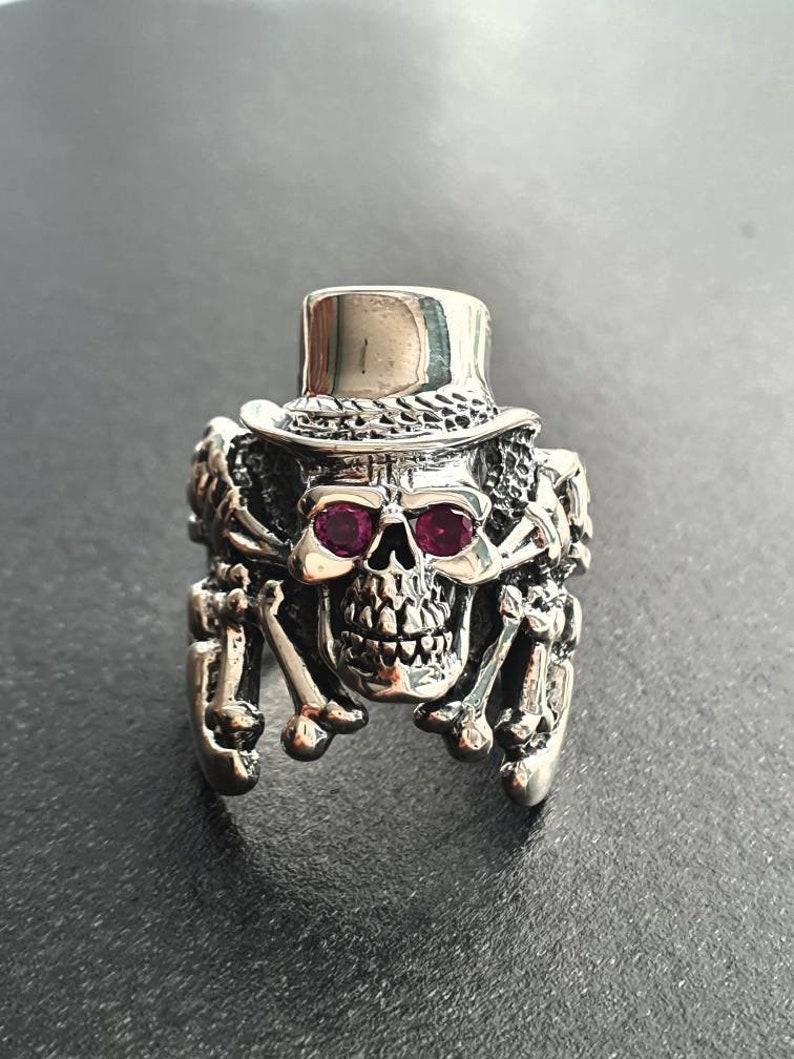 Top Hat Redeye Skull Ring  925 sterling silver Gothic Design image 0