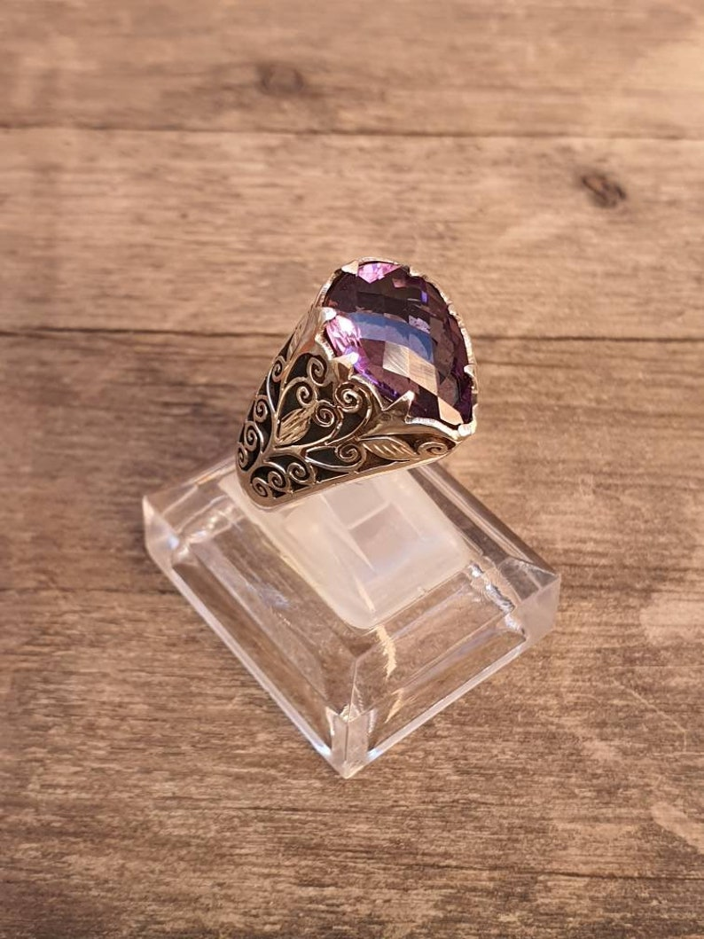 925 sterling silver Teardrop Amethyst Filigree Gothic Ring