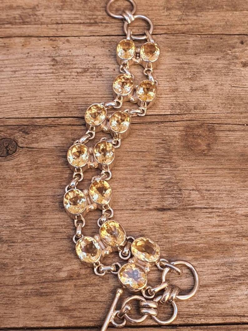 Citrine Bangle 925 sterling silver Bracelet Citrine double line Bracelet Boho Jewelry