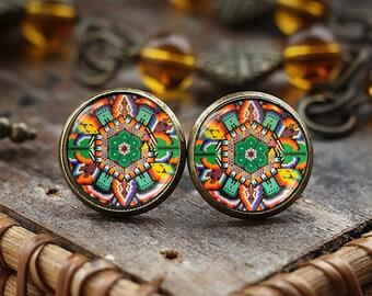 Mexican Art stud earrings, Mexican Folk Art, Mexican Jewelry, Mexican earrings, Mexican Ornamental, antique brass earrings, post earrings,