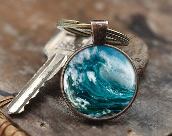 Ocean Wave Keychain, Ocean Keychain, Wave Keychain Water Wave Keychain, Surfing Keychain, Water Sport, Gifts For Surfers, Surfboard Keychain
