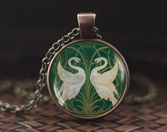 Art Nouveau Swans pendant, Walter Crane Swans necklace, Swan jewelry, Swan necklace, Swan couple necklace, Green vintage necklace