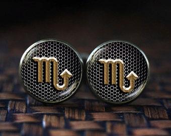 Scorpio Cufflinks & Tie Clip Bar Slide Zodiac Sign Mens Set Star ...