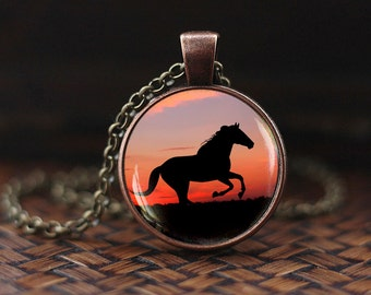 Horse necklace, running horse pendant, sunset pendant, Horse jewelry, Equestrian Jewellery, glass dome pendant