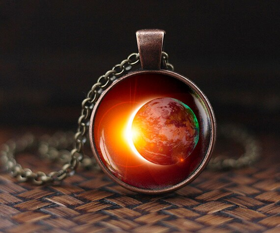 Eclipse Necklace Sun Moon Lunar Jewelry filigree crescent moon charm Crescent moon Solar Eclipse Necklace Galaxy Pendant Space Jewelry