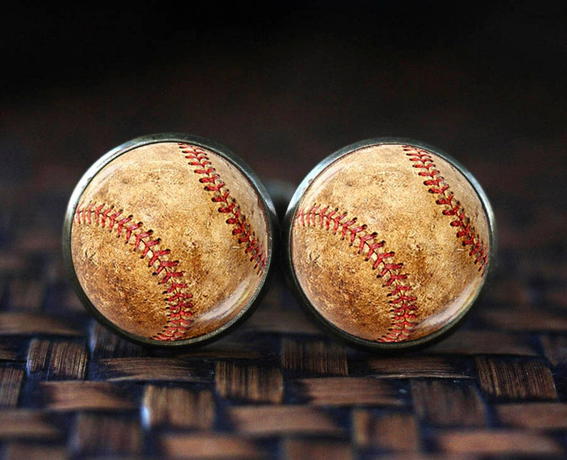 Baseball cufflinks  Sport cuff links men's cuff links image 0