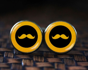 Mustache Cufflinks, Black Curly Moustache Cufflinks, Funny Cufflinks for Men, Hipster Mustache cufflinks, Yellow cufflinks, Funny men's gift