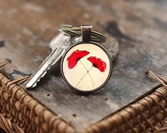 Red poppies Keychain, Poppies Keychain, poppies charm Keychain, flower Keychain, Poppy Flower Keychain for women