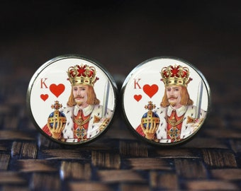 Playing card cufflinks, King of Hearts Men cufflinks, Poker jewelry, Poker cufflinks Cards cufflinks, Gamblers Gifts, Hearts Poker Cufflinks