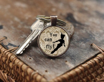 Peter pan You can fly Keychain, Peter pan Keychain, Peter pan quote Keychain, Fairy tale Keychain, Neverland Keychain,