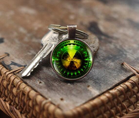 Strahlung Gefahr Symbol Schlüsselanhänger, radioaktiven Chemie Schlüsselanhänger, Physik Schlüsselanhänger, Sci Fi Science Schlüsselanhänger, Fallout