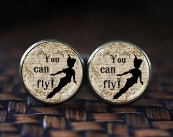 Peter pan You can fly cufflinks, Peter pan cufflinks, Peter Pan accessories, Peter pan quote, Fairy tale cufflinks, Neverland cufflinks,