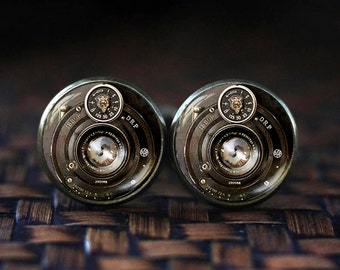 Camera cufflinks, Photography cufflinks, Gift For Photographer, Camera Lenses cufflinks, men's cufflinks, NOT REAL CAMERA