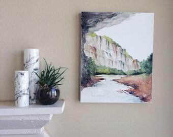 """Original Watercolor Landscape Painting - 16"""" x 20"""""""