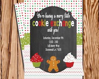 Cookie Exchange Invitation, Christmas Cookie Swap Invitation, Christmas Party Invitation, Printable Christmas Invitation
