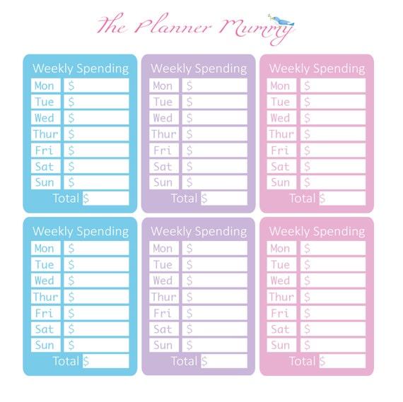 6 x weekly spending budget saving planner stickers organiser etsy