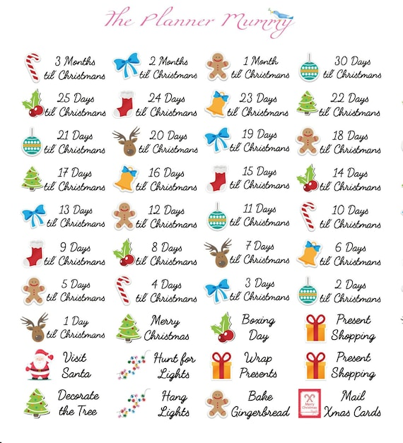 40 X Christmas Holiday Countdown Bucket List Reminder Markers Etsy