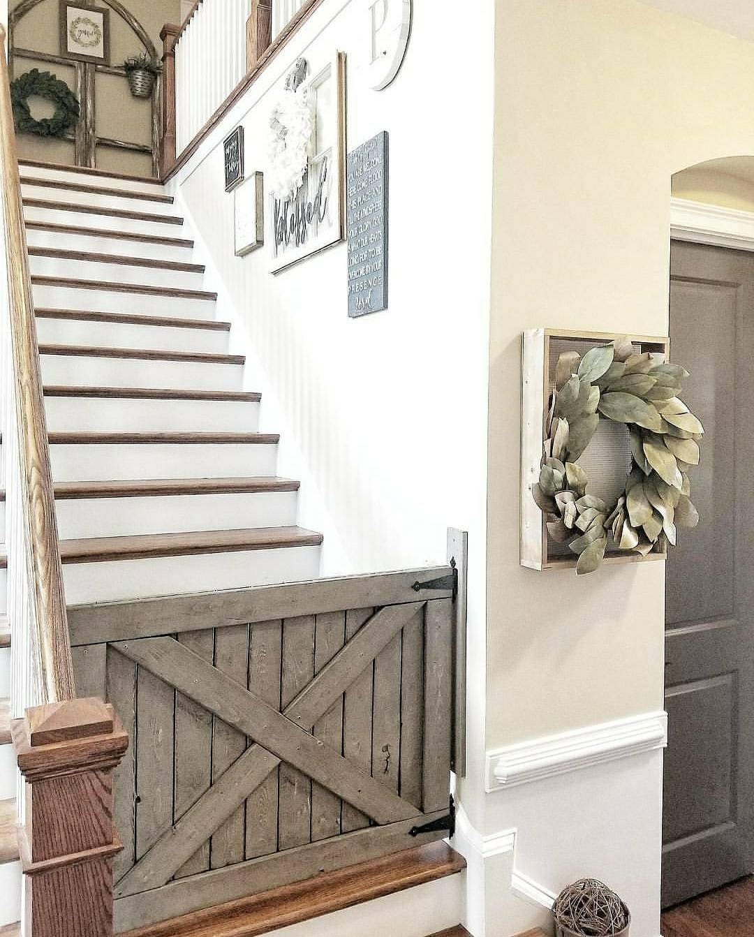 Barn Door Baby Gate Gray Distressed
