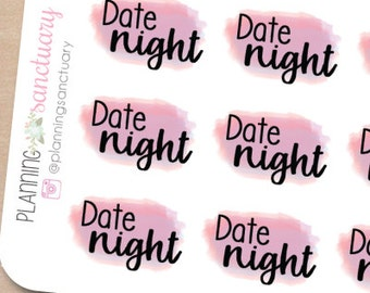 Watercolor Date Night Planner Stickers Perfect for Erin Condren, Kikki K, Filofax and all other Planners