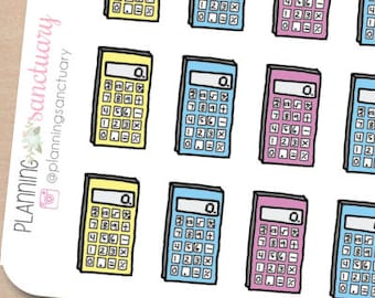 Calculator Planner Stickers Perfect for Erin Condren, Kikki K, Filofax and all other Planners