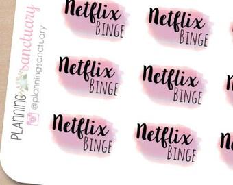 Watercolor Netflix Binge Planner Stickers Perfect for Erin Condren, Kikki K, Filofax and all other Planners