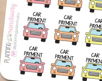 Car Payment Reminder Planner Stickers Perfect for Erin Condren, Kikki K, Filofax and all other Planners