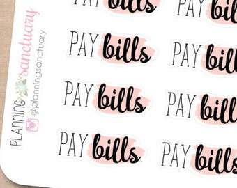 Pay Bills Reminder Planner Stickers Perfect for Erin Condren, Kikki K, Filofax and all other Planners