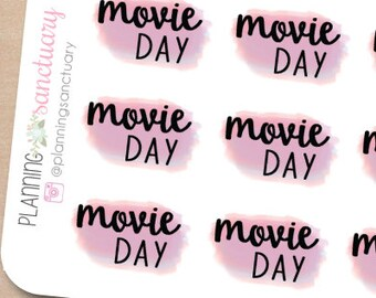 Watercolor Movie Day Planner Stickers Perfect for Erin Condren, Kikki K, Filofax and all other Planners
