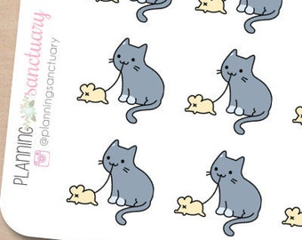 Cat Playing Planner Stickers perferct for Erin Condren, Kikki K, Filofax and all other Planners
