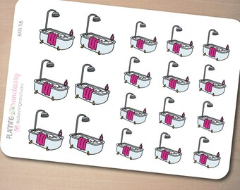 Bath Tub Planner Stickers Perfect for Erin Condren, Kikki K, Filofax and all other Planners