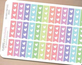 Mini Hearts Page Flags Brights Functional Planner stickers Perfect for Erin Condren, Kikki K, Filofax and all other Planners