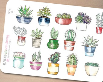 Cactus Ver1 Decorative Planner Stickers Perfect for Erin Condren, Kikki K, Filofax and all other Planners