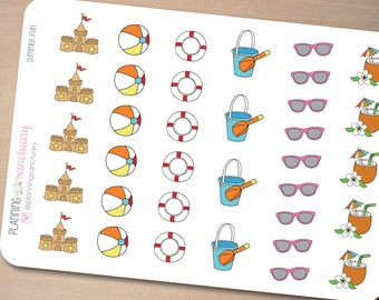 Summer Fun Set Planner Stickers Perfect for Erin Condren, Kikki K, Filofax and all other Planners