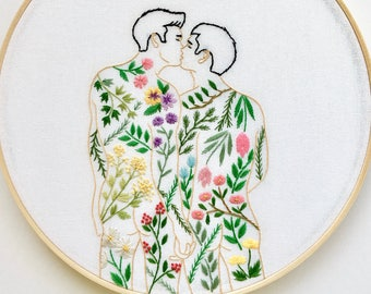 """Embroidery art """"Signs of spring"""" / Hand embroidery hoop art / Gay art"""