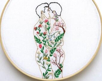 "Embroidery art ""Spring has come"" / Hoop art / Gay art"