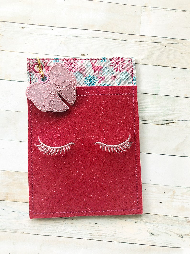 Pink and Aqua Teal- Christmas Deer Pen Makeup Sticky Note Planner Clip Pocket Planner Accessories Eyelashes Glam Planner Pen Pouch