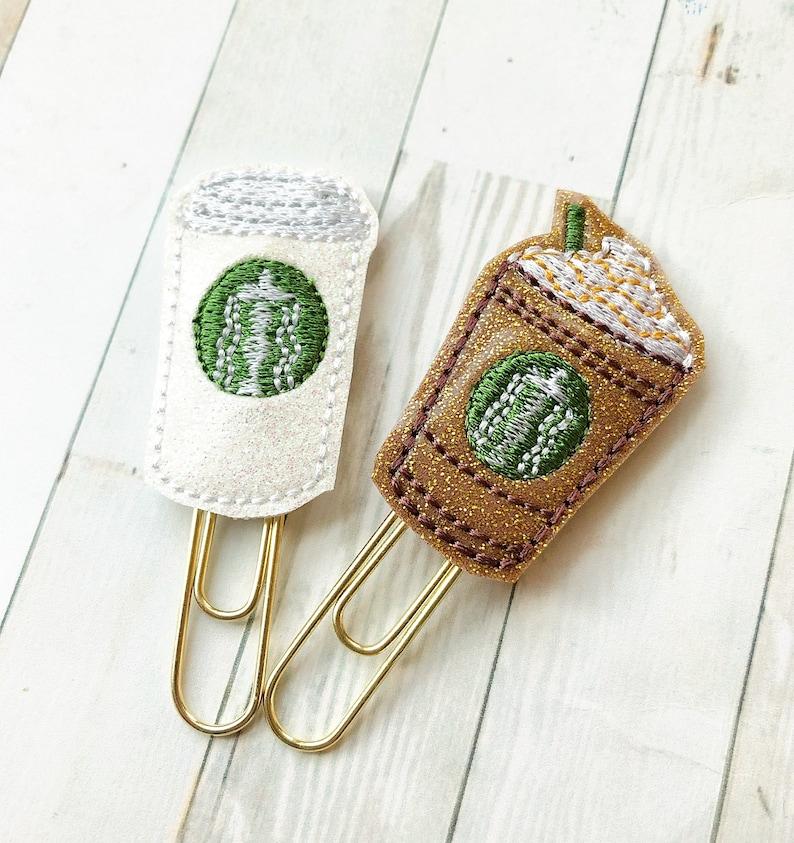 Mini Glam Coffee Cup Planner Clip  Caramel Frappuccino  Java image 0