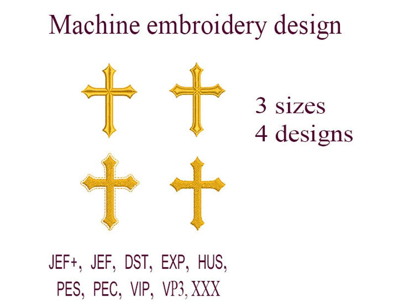 Machine embroidery designs. Christian Cross embroidery design. image 0