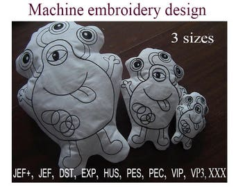 coloring toy monster Machine embroidery designs   Soft toy In the Hoop.  Stuff Toy.   ITH  Embroidery Design.  Instant Download.