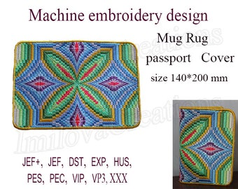 Machine embroidery designs.  Passport cover In the Hoop. Bargello embroidery designs. Mug Rug  ITH  Embroidery Design.  Instant Download.
