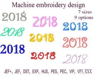 Machine embroidery designs. new year design   2018 Embroidery Frame. Instant Download.