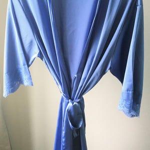 Bridal Party Robe Robes Wedding Kimono Bridesmaid PLUS SIZE  Iris Satin Bridesmaid Robes with Lace Trim Silky Satin Robes Blue Robe