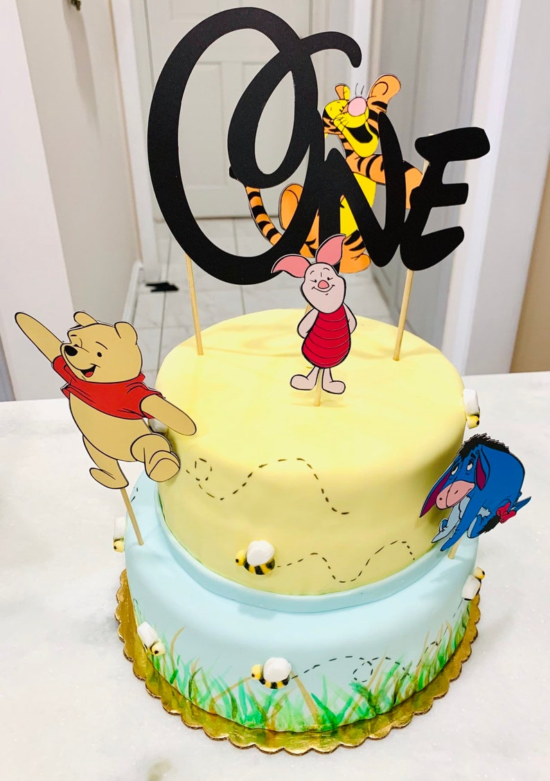1st Birthday Pooh Cake Toppers Piglet Topper Eeyore