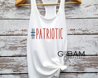 Fourth of July Tank top / Patriotic Tank top /  Patriotic shirt / Patriotic AF Tank / Red, white and Blue tank top.